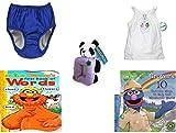 Children's Gift Bundle - Ages 0-2 [5 Piece] Includes: My Pool Pal Reusable Swim Diaper, Royal Blue 24 Months, 18-25 Pounds, Circo Girls Summer Fish Love Tank Top White Size 4T, Kellytoy Panda Bear P