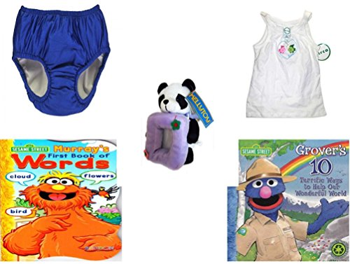 Children's Gift Bundle - Ages 0-2 [5 Piece] Includes: My Pool Pal Reusable Swim Diaper, Royal Blue 24 Months, 18-25 Pounds, Circo Girls Summer Fish Love Tank Top White Size 4T, Kellytoy Panda Bear P by Secure-Order-Marketplace Gift Bundles