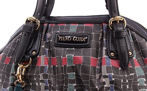 Sac à Main Femme PIERO GUIDI Intreccio Hand Bag Leather Black Cuir Noir Made IT