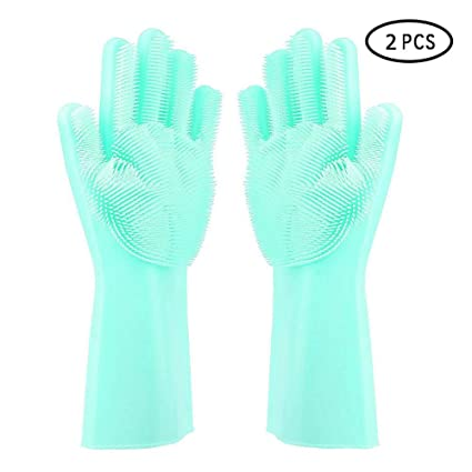 Silicone Gloves, KOBWA Magic Dishwashing Gloves with Scrubber, Heat Resistant Reusable Cleaning Gloves for Kitchen, Bathroom, Car, Pet Care - 1 Pair