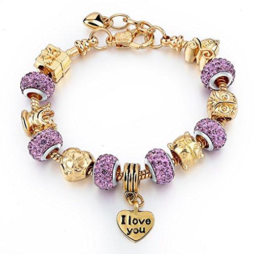 Choker-Gold-Plated-Snake-Chain-Glass-Crystal-Beads-I-Love-You-Charm-Beaded-Pandora-Bracelets-for-Women