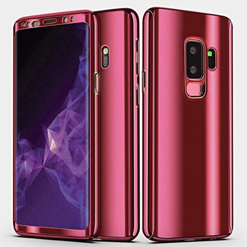 Galaxy S9 Plus Case, Ultra Slim Electroplate 360 Degree Full Body Protection Mirror Case With Tempered Glass Screen Hard PC Protector For Samsung Galaxy S9 Plus (Red)