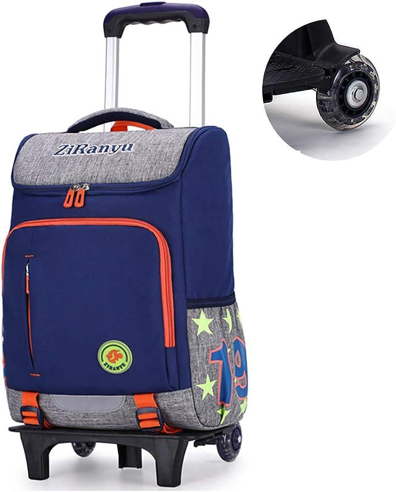 Mochila escolar con ruedas de gran capacidad para la escuela primaria Mochila impermeable para subir escaleras Mochila rodante Mochila para cabina de embarque Estilo universal para hombres y mujeres-b: Amazon.es: Ropa y