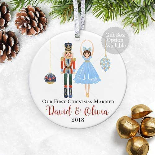 Christmas Ornament Wedding Gift: Amazon.com: Our First Christmas Married 2018, Personalized