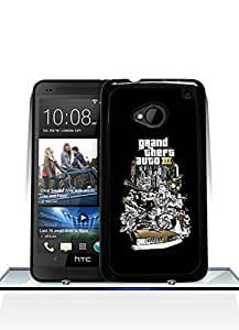 Cute Funda Case For HTC One M7, Grand Theft Auto Game Funny Artistic Fantastic Simple Cool Pattern Anti Slip Back Film Skin For HTC One M7