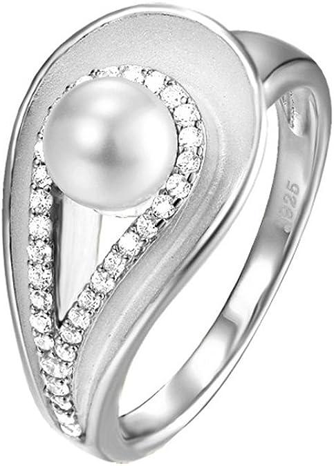 Pierre Cardin Damen Ring La Bidassoa 925 Silber Zirkonia Brillantschliff Synthetische Perle Weiß Gr. 50 (15.9) PCRG90455A160