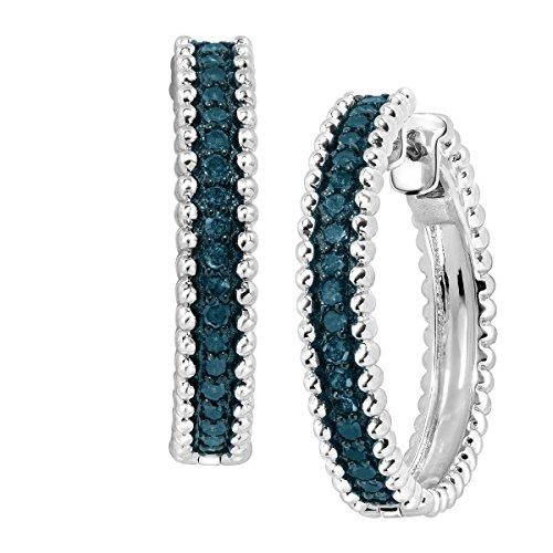 1 2 ct Blue Diamond Beaded Hoop Earrings in Sterling Silver 1 Diameter