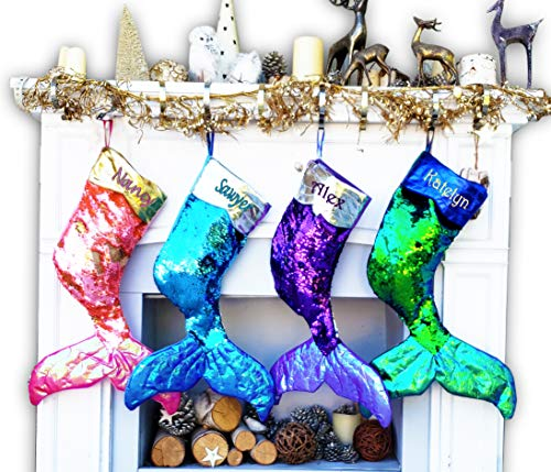 (Large Mermaid Tail Christmas Stockings Flip Reversible Sequins (CustomizeColor, Personalized))