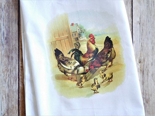 Grandmas Old Fashioned - Kitchen Dish Towel - Flour Sack Towel - Vintage Rooster with Chickens and Chicks - Farmhouse Towel