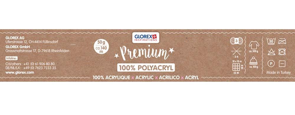 blanco aprox f/ácil de procesar Glorex 5 1001 00 Premium Lana de 100/% acr/ílico no ara/ña vers/átil c/álida 50 g suave 140 m