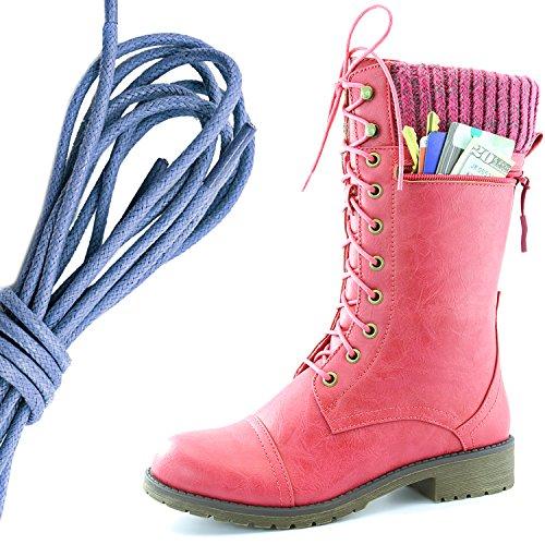 Dailyshoes Womens Combat Stijl Lace Up Enkel Bootie Ronde Teen Militaire Knit Creditcard Mes Geld Portemonnee Pocket Laarzen, Koningsblauw Hot Pink Pu