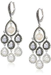 "Judith Jack ""Pearlette"" Sterling Silver, Marcasite and Fresh Water Pearl Chandelier Drop Earrings"