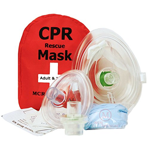 Bag Mask Valve Ventilation - Adult & Infant CPR Mask Combo Kit with 2 Valves, MCR Medical