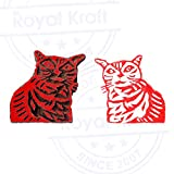 Stylish Cat Animal Shape Wood Print Textile Block - DIY Henna Fabric Textile Paper Clay Pottery Block Printing Stamp