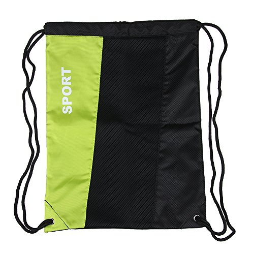 Gymsack Drawstring Backpack Bags Sackpack (big green) ()