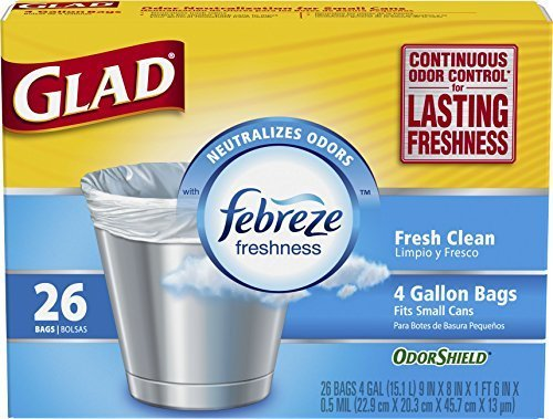 Glad OdorShield Small Trash Bags, Fresh Clean, 4 Gallon, 26 Count (Pack of 6) by Glad