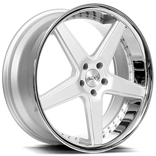 Azad AZ008 - 20 Inch Staggered Rims - Set of 4 Silver Brushed with Chrome Lip Wheels - Sports Racing Cars - For Challenger, Charger, Mustang, Camaro, Cadillac and More (20x8.5 / 20x10) - Car Rim Wheel (20 Inch Staggered Rims)