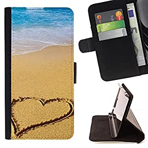 - Beach Heart - - Monedero PU titular de la tarjeta de cr????dito de cuero cubierta de la caja de la bolsa FOR Apple Iphone 6 RetroCandy