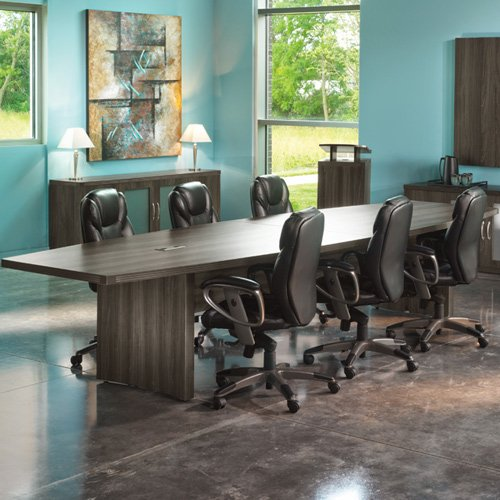 6ft – 18ft Modern Conference Table with Power and Data Meeting Boardroom 8ft w 2 Power Modules, Gray Steel