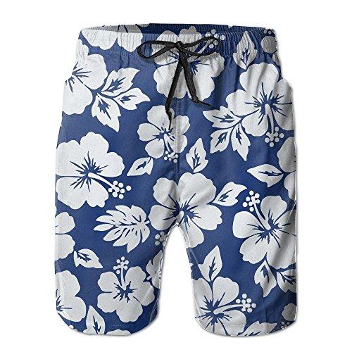 JWJW5-20 Hibiscus Flowers Seamless Pattern Summer Boardshorts, Men's Beach Shorts with - Imagine Pattern Wallpaper