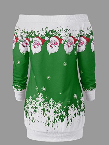 T Inclined shirts Print Shoulder Christmas Women Coolred Dress Green Xmas Mid 6gqpxUfpw