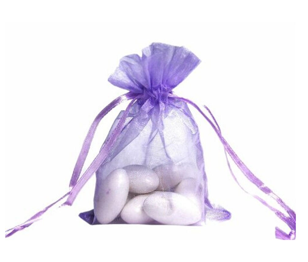 100pcs Organza Drawstring Pouches Jewelry Party Wedding Favor Gift Bags 6''X9'' (Lavender)