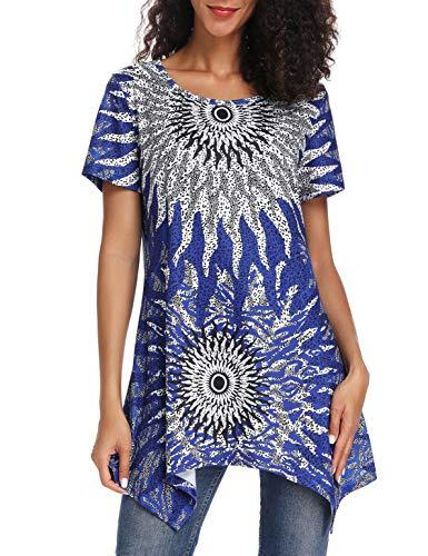 Assorted Womens Short Sleeve Shirts - Acloth Womens Floral Print Asymmetrical