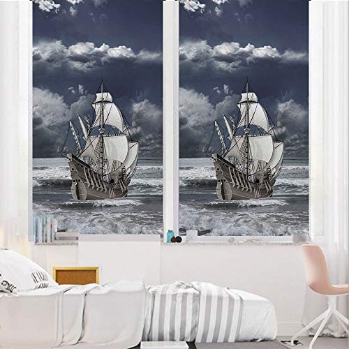 Landscape 3D No Glue Static Decorative Privacy Window Films, Cloudy Sky Caribbean Pirates Ship Oil Print Like Art Image,17.7