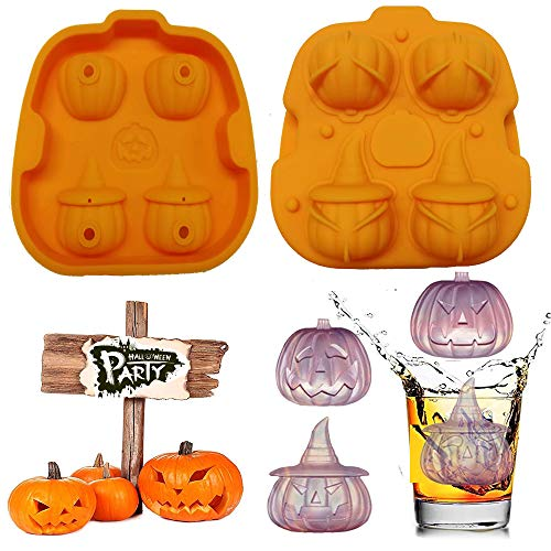 MoldFun 3D Pumpkin Ice Cube Tray Silicone Chocolate Candy Gummy Mold Jello Jelly Cake Mini Soap Wax Crayon Melt Candle Mould Halloween Party Favors Supplies -