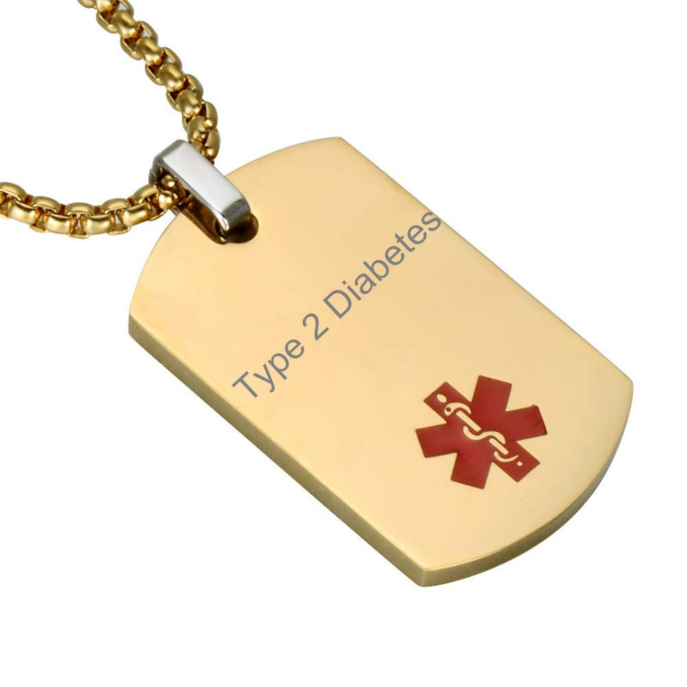 CF Customizable Free Engraving Blank Stainless Steel Medical Alert Type 2 Diabetes Awareness Identification ID Necklace Pendant,Emergency SOS Daily Life Saver for Adults,Grandpa,Grandma-Gold