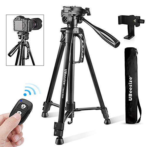Camera Tripod, UBeesize 55-Inch Lightweight Aluminum Travel Tripod Stand for Canon Nikon Sony DSLR Digital Olympus Video Camera with Universal Smartphone Mount & Carry Bag & Bluetooth Remote (Camera Tripod For Canon Rebel)