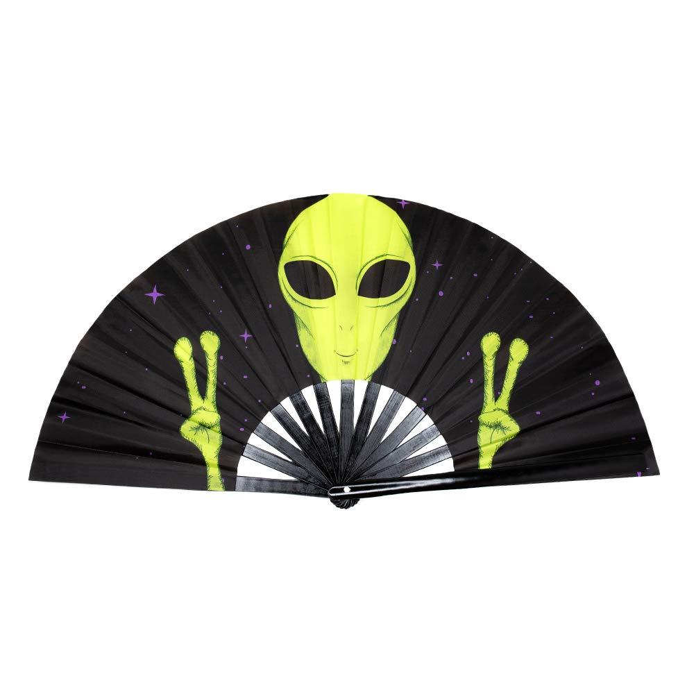 GloFX Folding Fans - Alien - Rave Festival Accessories Performance Decoration Japanese Hand Fan by GloFX
