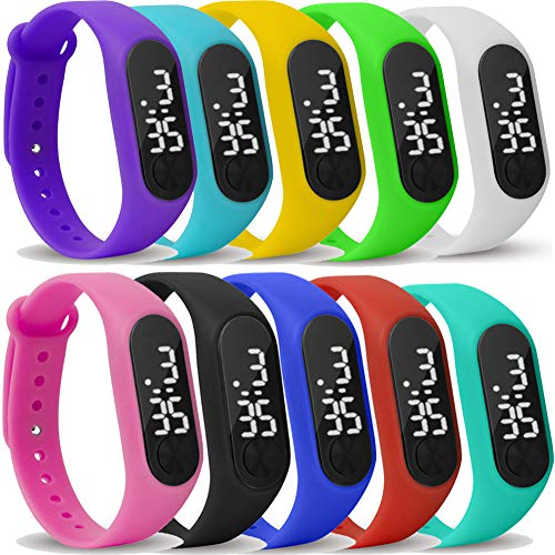 Yunanwa 10 Pack Upgraded White LED Touch Screen Jelly Gel Silicon Bracelet Wrist Watches Band Sports Set from yunanwa