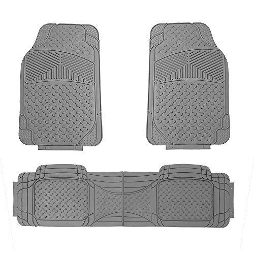 FH Group FH-F11307 Semi Custom Trimmable Heavy Duty Rubber Floor Mats Front & Rear - Gray 3pc Set