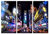 Picture Sensations Framed Huge 3-Panel Cityscape NYC Manhattan Time Square Giclee Canvas Art
