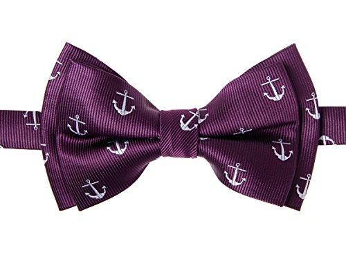 Retreez Classic Anchor Pattern Woven Microfiber Pre-tied Boy's Bow Tie - Dark Purple - 4 - 7 years