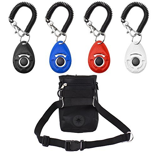AMAZECO Dog Treat Training Pouch Bag with Adjustable Strap and Dog Training Clicker with Wrist Strap - Pet Training Clicker Set by Ecocity 4 Color Set