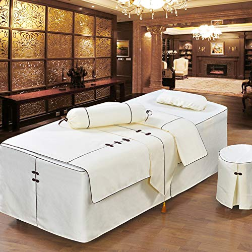 ALHBNAY Premium Massage Table Sheet Sets, Massage Table Skirt, Spa Salon Bed Cover Linen Valance Sheet-A 185x70x55cm