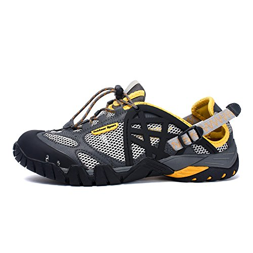 - QBIRDS Men's Outdoor Sandal Women's Outdoor Shoes Mesh Hiking Trekking Sandal Trail Water Light Sandals Lovers Shoes Sandal Water and Land Two Amphibious Shoes Wading Sandals(9.5, Yellow)
