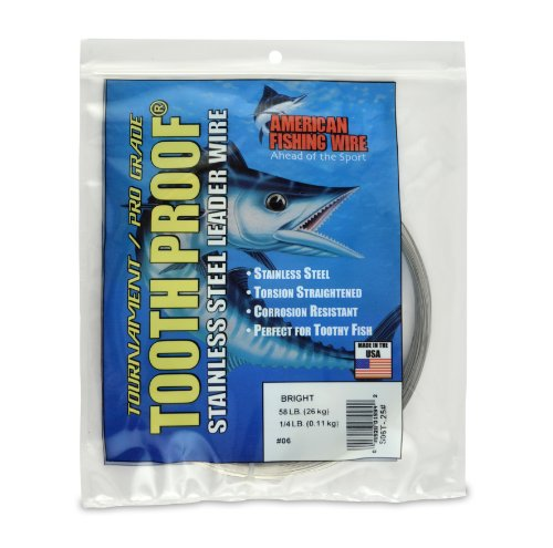 American Fishing Wire Tooth Proof Stainless Steel Single Strand Leader Wire, Size 6, Bright Color, 58 Pound Test, 1/4 Pound Coil