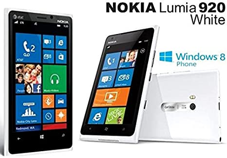 Nokia Lumia 920 32GB Unlocked 4G LTE Windows Smartphone w/PureView  Technology 8MP Camera - White