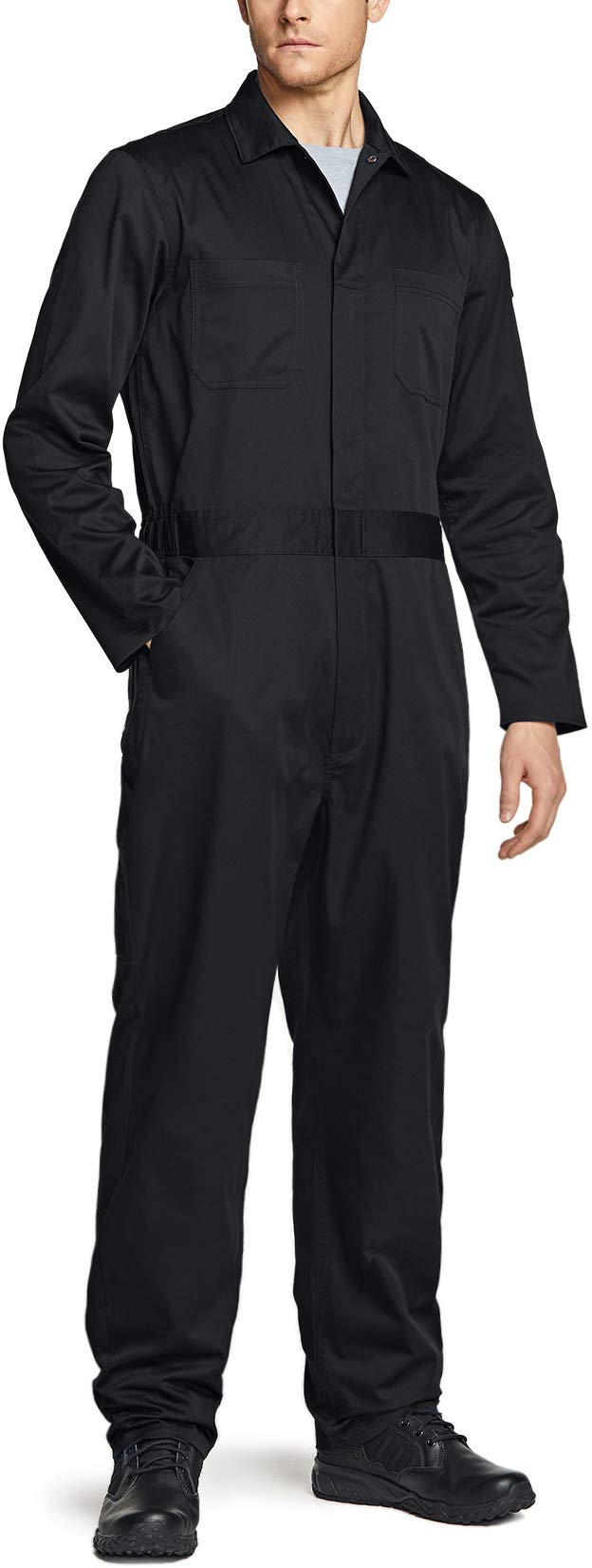 CQR Men's Long Sleeve Zip-Front Coverall Twill Stain & Wrinkle Resistant Work Coverall Action Back Jumpsuit with Multi Pockets