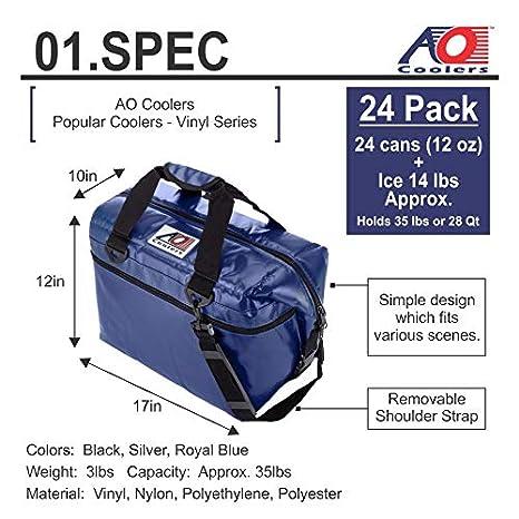 AO Coolers Resistente al Agua Vinilo Suave refrigerador con Aislamiento de Alta Densidad, 12-Can a 48-Can: Amazon.es: Deportes y aire libre