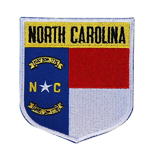 (State Flag Shield North Carolina Patch Badge Travel Embroidered Iron On Applique)