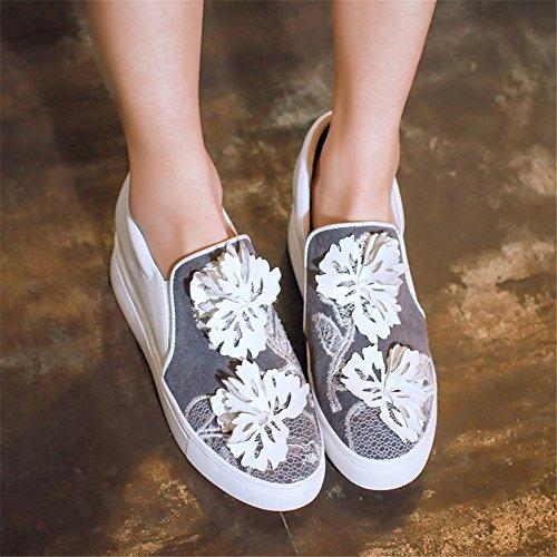 Minivog Hauteur Croissante Plate-forme Floral Femmes Chaussures En Cuir Mocassin Blanc