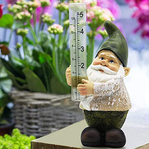 (Rain Gauges Outdoor Gnome Figurine Bits and Pieces Hand Painted Water Gauge for Rain in Patio Lawn Yard Garden Decor Rain Resistant Polyresin Statue Little Gnome)