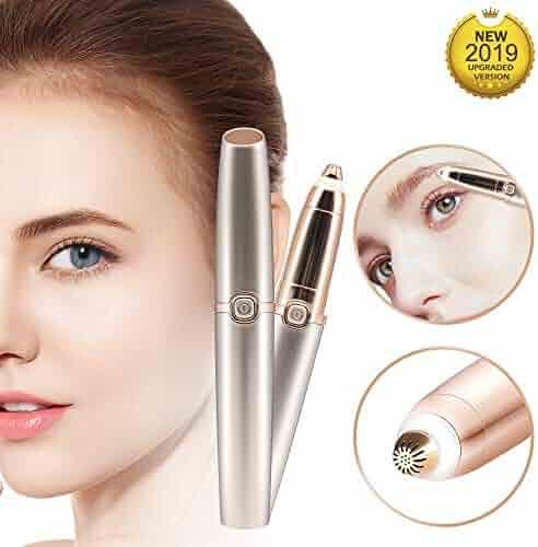 Eyebrow Hair Remover Painless Eyebrow Trimmer Epilator for Face Lips Facial Portable Eyebrow Razor with Light for Women Men (Gold)