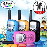 iGeeKid 4Pack Kids Walkie Talkie Earpiece Girls Boys Speaker Mic Two Way Radio Accessories Long Range 22 Channel LED Flashlight Marine Cruise Hiking Camping Travel Summer School Outdoor