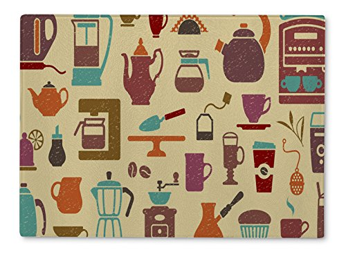 Gear New Glass Cutting Board and Serving Dish, Of Tea And Coffee, also makes great accent decor piece, 11x8, 12544GN (Coffee Glass Cutting Board)