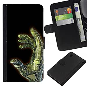 Sony Xperia Z1 L39 C6902 C6903 C6906 C6916 C6943 , la tarjeta de Crédito Slots PU Funda de cuero Monedero caso cubierta de piel ( Hand Ai Technology Robot Futurism Art)